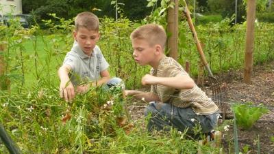 oudere helpen in de tuin